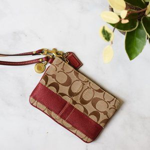Coach Wristlet with Ruby Red Stripe